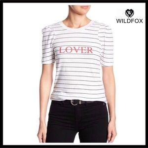 "WILDFOX SHORT SLEEVE STRIPED TEE ""LOVER"" T-SHIRT"